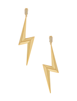 Bolt Statement Earrings In Gold by Luv Aj