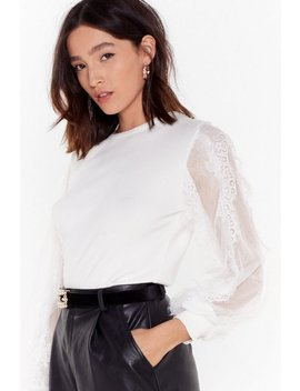 Give Me Some Lace Balloon Sleeve Knitted Sweater by Nasty Gal