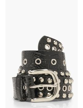 Patent Studded Eyelet Detail Buckle Belt by Boohoo