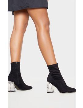 Black Clear Block Heel Sock Boot by Prettylittlething