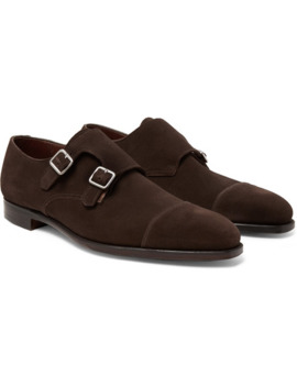 Thomas Cap Toe Suede Monk Strap Shoes by George Cleverley