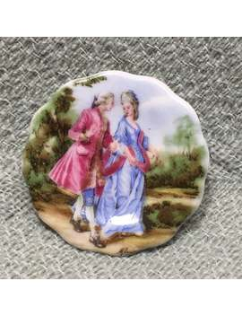 "Courting Couple Bone China Plate Brooch Pin, Coalport China, Make In England, Wooing Couple Pin, 18th Century Courting Couple Brooch, 1.5"" by Etsy"