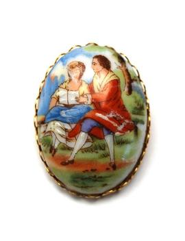 Limoges Fragonard Style Brooch Painted Porcelain Courting Couple Brooch Gold Metal Green Rhinestone   Pink Art Glass by Etsy