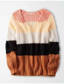 Ae Striped V Neck Oversized Sweater by American Eagle Outfitters