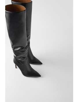 Stivali In Pelle Con Tacco Sottile by Zara