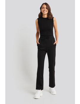 Front Seam Detail Straight Leg Jogger Black by Na Kd