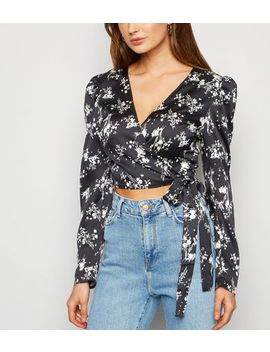 Urban Bliss Black Floral Satin Wrap Crop Top by New Look