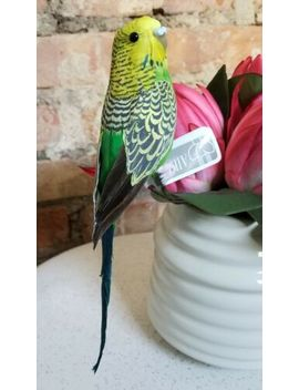 "Faux Parakeet Budgie Bird Fake Replica Looks Real Green 8"" Nwt by Ebay Seller"
