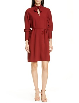 Tie Neck Belted Long Sleeve Crepe Dress by See By ChloÉ