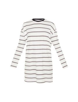 White Contrast Stripe Long Sleeve T Shirt Dress by Prettylittlething