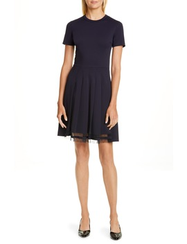 Point D'esprit Trim Fit & Flare Dress by Red Valentino