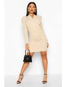 Button Detail Ruched Puff Shoulder Dress by Boohoo