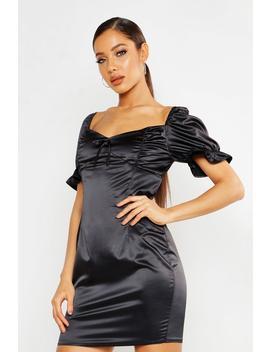 Satin Ruched Mini Dress by Boohoo