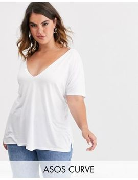 Asos Design Curve Oversized V Front And V Back T Shirt In White by Asos Design