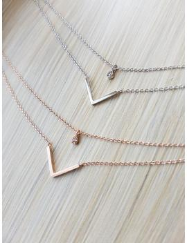 Simple Geometric Double Layers Cubic V Necklace, Rose Gold, Silver Chains, Layering Jewelry, Gifts For Her, Necklaces For Women by Etsy