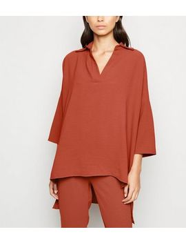 Cameo Rose Rust Oversized Shirt by New Look
