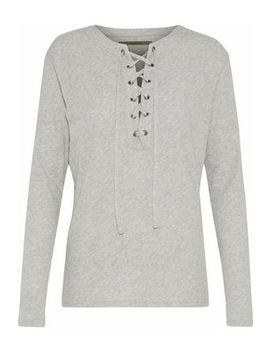 Lace Up Mélange Cotton And Cashmere Blend Top by Enza Costa