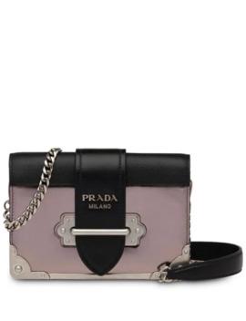 Grey, Black And Pink Cahier Mini Leather Shoulder Bag by Prada