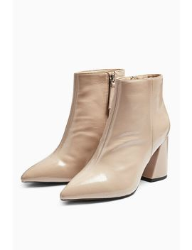 **Wide Fit Hackney Taupe Pointy Patent Boots by Topshop