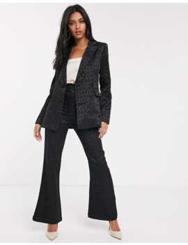 Fashion Union Tailored Blazer In Black Paisley Jacquard by Fashion Union's