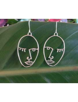 Face Earrings Picasso Face Statment Minimal Hollow Face Earring, Abstract Style, Earrings, Picasso Artsy Earrings by Etsy
