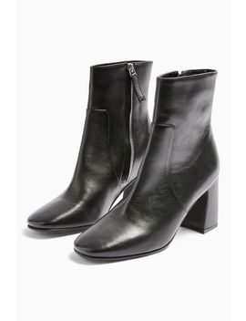 Mabel Leather Black Block Boots by Topshop