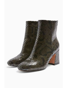**Wide Fit Belize Khaki Smart Snake Boots by Topshop