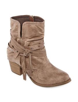 Pop Womens Berenice Block Heel Zip Booties by Pop