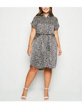 Curves Black Satin Leopard Print Shirt Dress by New Look
