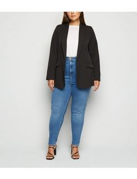 Curves Blue Waist Enhance Mom Jeans by New Look
