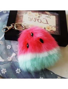 Lovely Pompom Keychain Women Bag Fluffy Pendant Faux Fur Watermelon Ball Keyring by Ebay Seller