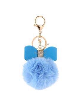Faux Fur Pom Pom Key Chain Bag Charm Fluffy Cute Bow Ball Keyring Pendant Dangle by Ebay Seller