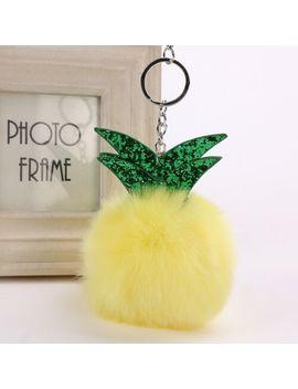 Cute Plush Fluffy Pineapple Bag Hanging Accessories Keyring Pendant Pom Ball by Ebay Seller
