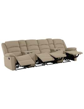 Copper Grove Geel 4 Seat Low Pile Velvet Recliner Sofa With Power Storage Console   Barley Tan by Copper Grove