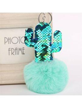 Bling Cactus Rabbit Fur Pompom Key Chain Bag Charm Fluffy Puff Ball Keyring Gift by Ebay Seller