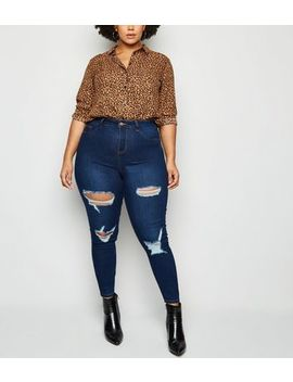 Curves Blue Ripped High Waist Skinny Jeans by New Look