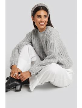 Round Neck Heavy Knit Sweater Grey by Na Kd