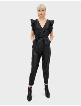 Combinaison En Similicuir à Volants  Robes   Femme | Bershka by Bershka