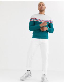 Asos Design – Sweatshirt Mit Sparrenmuster In Blockfarben Und Geripptem Stoff by Asos