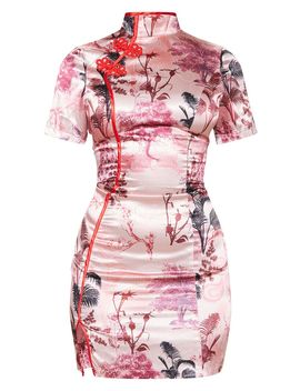 Petite Pink Satin Oriental Split Mini Dress  by Prettylittlething