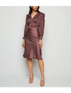 Urban Bliss Burgundy Satin Floral Midi Skirt by New Look