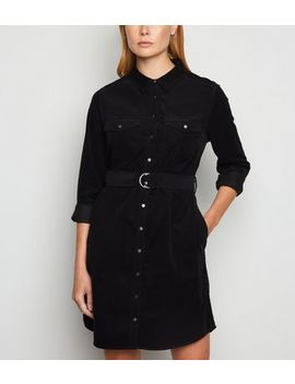 Black Corduroy Belted Shirt Dress by New Look