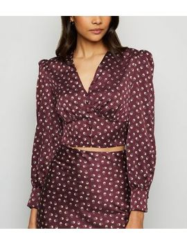 Urban Bliss Burgundy Satin Floral Blouse by New Look