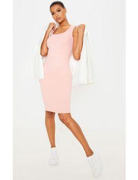 Blush Rib  Waist Detail Midi Dress by Prettylittlething