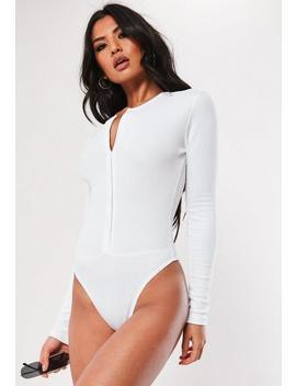 Body Con Botones De Canalé En Blanco by Missguided