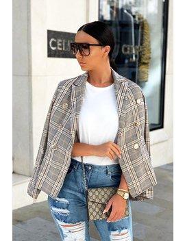 Brown Tartan Check Double Breasted Blazer   Vanda by Rebellious Fashion