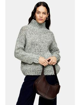 Mint Knitted Chunky Funnel Neck Jumper by Topshop