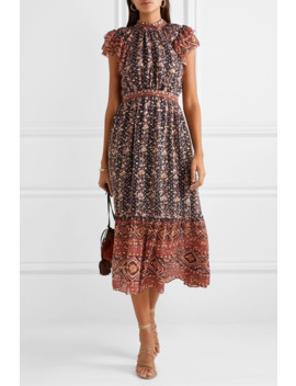 Alastair Ruffled Printed Fil Coupé Silk And Lurex Blend Midi Dress by Ulla Johnson