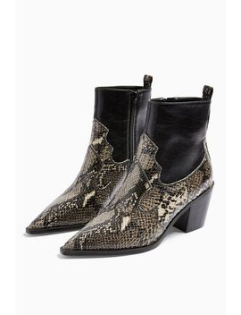 **Wide Fit Bliss Snake Western Boots by Topshop