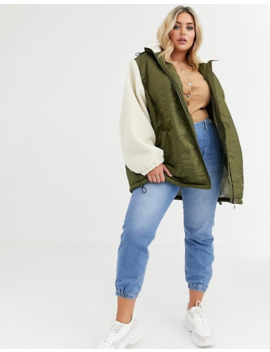 Asos Design Curve Quilted Jacket With Borg Sleeves by Asos Design